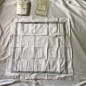 2 Pottery Barn Grand Embroidered 26x26 Shams Gray